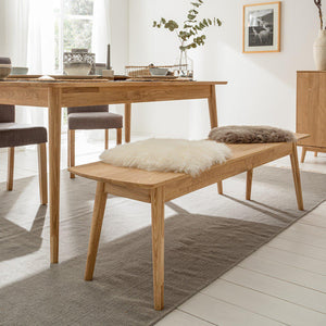 NordicStory Solid Oak Wood Bench