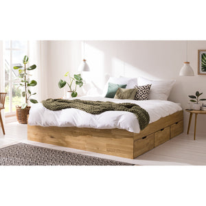 NordicStory Solid Oak Wood Storage Bed