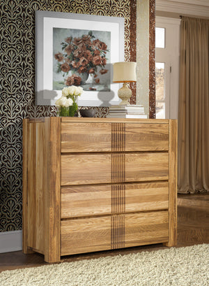 "NordicStory Chest of Drawers ""Valencia"" 96 x 43 x 94 cm. Solid Oak Wood"