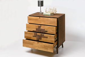 NordicStory chest of drawers with 4 drawers in solid wood oak chest of drawers for bedroom Scandinavian Nordic retro