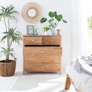NordicStory Comfortable Laura Chest of 5 Drawers Solid Wood Oak Nordico