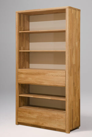 NordicStory Elsa 2 Bookcase Wall Shelf with 2 Drawers Solid Wood Oak Natural Scandinavian Nordico Salon Office