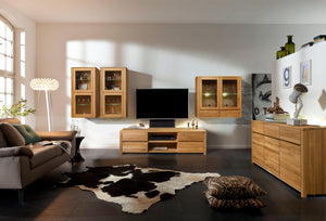 NordicStory Elsa 20 Wall cabinet solid wood oak storage with glass