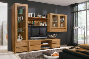 NordicStory Wall cabinet with glass in solid wood natural oak nordic design
