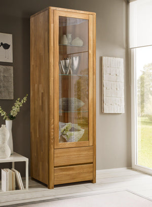 NordicStory Elsa Furniture Solid Wood Scandinavian Natural Oak Nordico Showcase with Glass Living Room