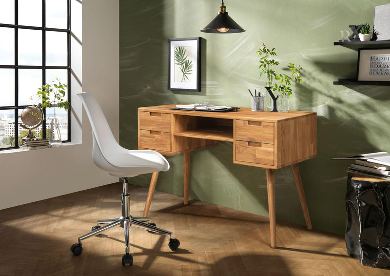 NordicStory Solid Oak Wood Corner Desk