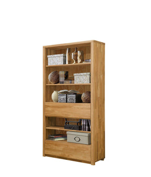 NordicStory Wardrobe Bookcase Solid Oak Wood Shelf