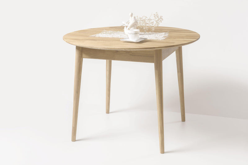 NordicStory Solid Oak Wood Round Dining Table