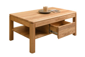 NordicStory Coffee table solid oak bedside table with 1 scandinavian drawer