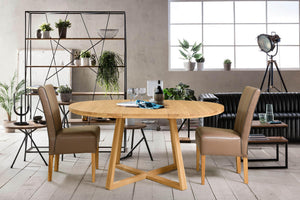 "NordicStory Extendable round oak solid wood dining table ""Moby"" 120-160 x 120 x 75 cm."