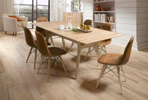 NordicStory Extendable Solid Oak Wood Dining Table