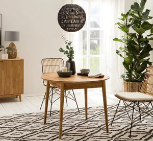 """NordicStory Dining table made of solid extendable round oak """"Escandi 3"""" 100-130 x 100 x 75 cm."""