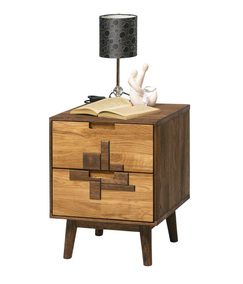 NordicStory Solid oak wood bedside table