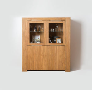 NordicStory Cabinet Showcase With Glass Solid Wood Nordic Oak Scandinavian Salon