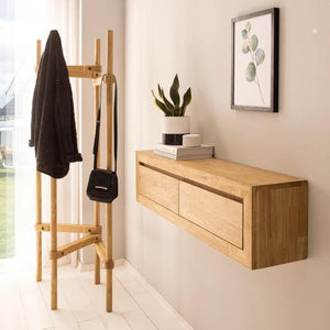 "NordicStory floating sideboard console in solid oak ""Sven"" 120 x 25 x 30 cm."