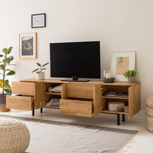 NordicStory TV cabinet solid wood oak Scandinavian industrial design