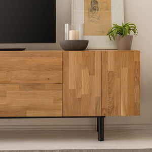 "NordicStory Solid oak TV cabinet ""Wardi"" 220 x 40 x 65 cm."