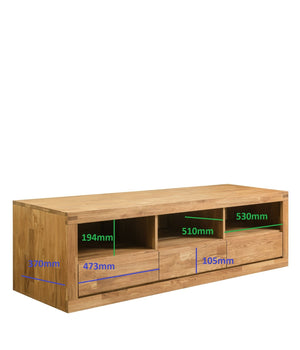 "NordicStory Solid oak wood TV cabinet ""Merle 1"" 175 x 55 x 50 cm."