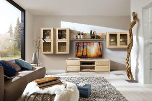 NordicStory wall cabinet solid wood oak storage with Scandinavian glass