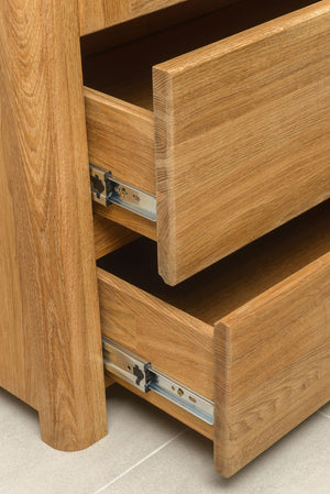 NordicStory Wardrobe with Glass Living Room Solid Wood Nordic Oak