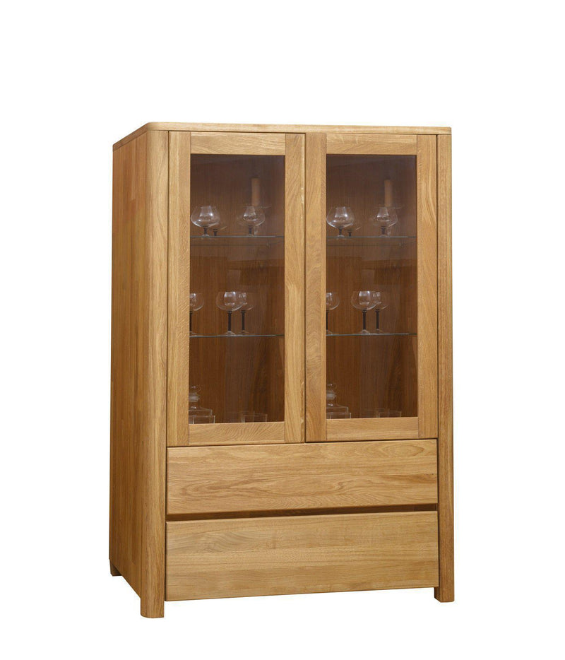 NordicStory Solid Oak Wood Glass Cabinet Cabinet
