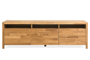 NordicStory Niels 2 Mueble de TV Aparador de Madera Maciza Roble Natural Escandinavo