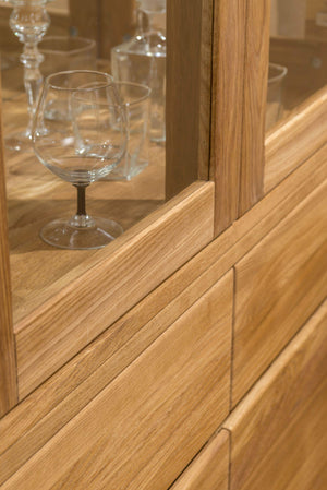 NordicStory Showcase With Glass Solid Wood Natural Oak Scandinavian Nordico