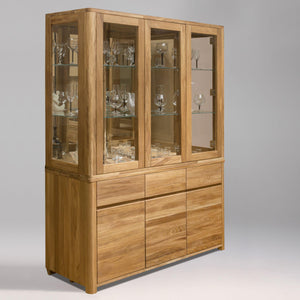 NordicStory Showcase with Glass Wardrobe Living Room Solid Wood Oak Showcase Scandinavian