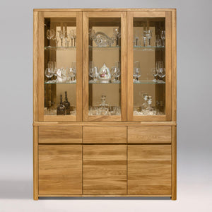 NordicStory Showcase with Glass Living Room Cabinet Solid Wood Scandinavian Oak