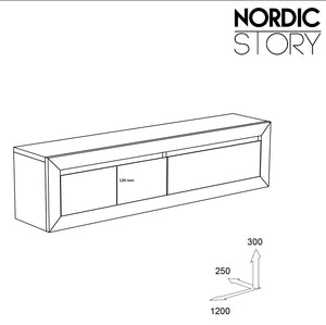 NordicStory Solid Oak Wood Floating Sideboard Console