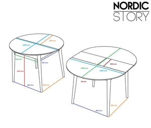 "NordicStory Dining table made of solid extendable round oak ""Escandi 3"" 100-130 x 100 x 75 cm."
