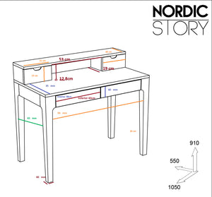 "NordicStory Solid oak wood writing table ""Axel II"" 105 x 55 x 96 cm."