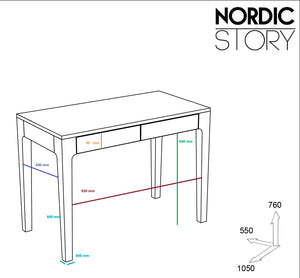 "NordicStory Solid oak wood writing table ""Axel I"" 105 x 55 x 76 cm."