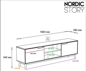 "NordicStory Mueble de TV de madera maciza de roble ""Escandi"" 180 x 39 x 54 cm."