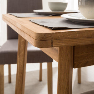 "NordicStory Extendable solid oak wood dining table ""Mini 1"" 110-170 x 65 x 77 (75) cm."
