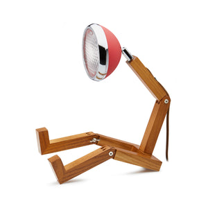 Mr. Wattson Red original design Nordic wood handmade lamp