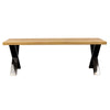 Industrial style solid oak wood bench