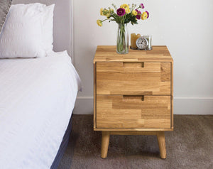 Bedside table sofa rustic solid oak wood