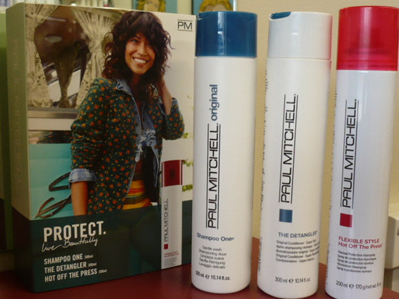 PAUL MITCHELL heat protect SHAMPOO ,THE DETANGLER + HOT OFF THE PRESS TRIO PACK