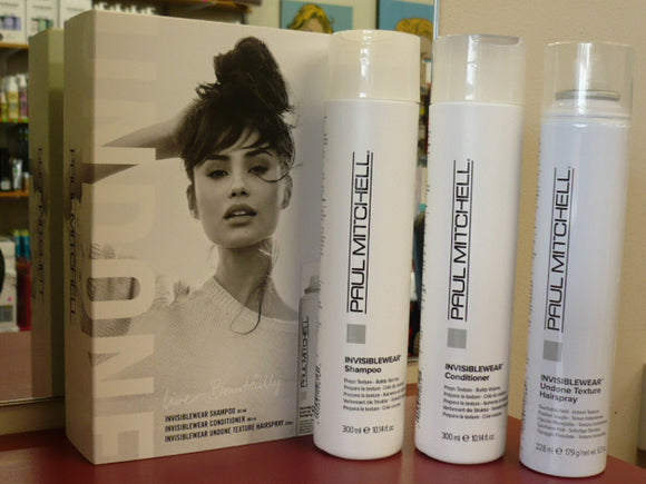 PAUL MITCHELL INVISIBLEWEAR SHAMPOO & CONDITIONER & UNDONE HAIRSPRAY TRIO PACK