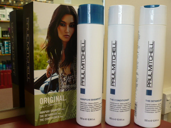 PAUL MITCHELL AWAPUHI SHAMPOO & CONDITIONER + THE DETANGLER TRIO PACK