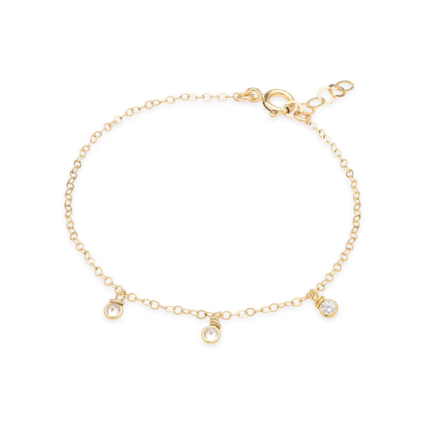 Dainty 14k gold filled charm tennis Bracelet with Cubic Zirconia