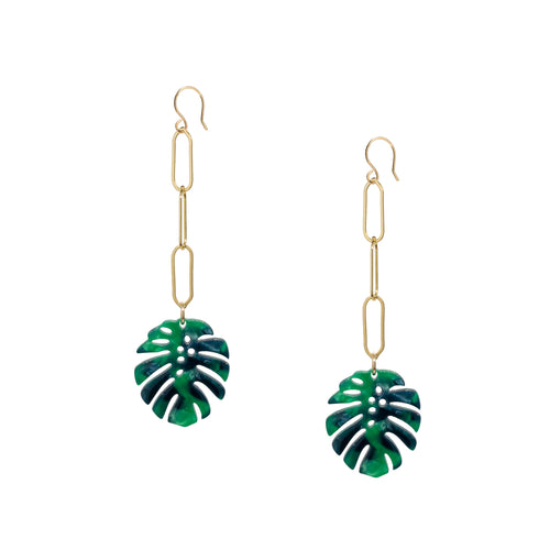 Monstera Leaf Gold Chain Earrings