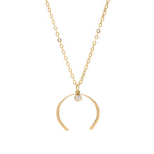 Load image into Gallery viewer, Crescent Moon Gold Necklace with Cubic Zirconia