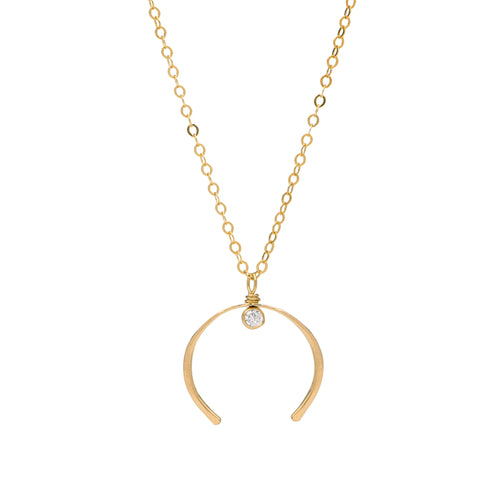 Crescent Moon Gold Necklace with Cubic Zirconia