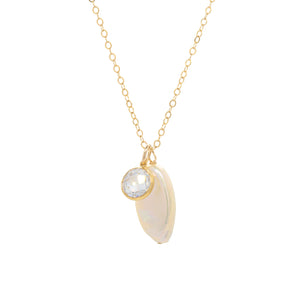 Keshi Pearl Necklace with CZ bezel
