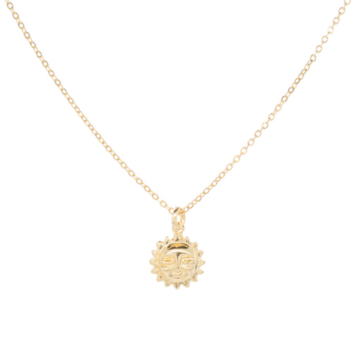 14k Solid gold Baby Sun Face Necklace
