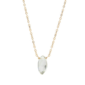 Green Amethyst 14k gold filled Necklace