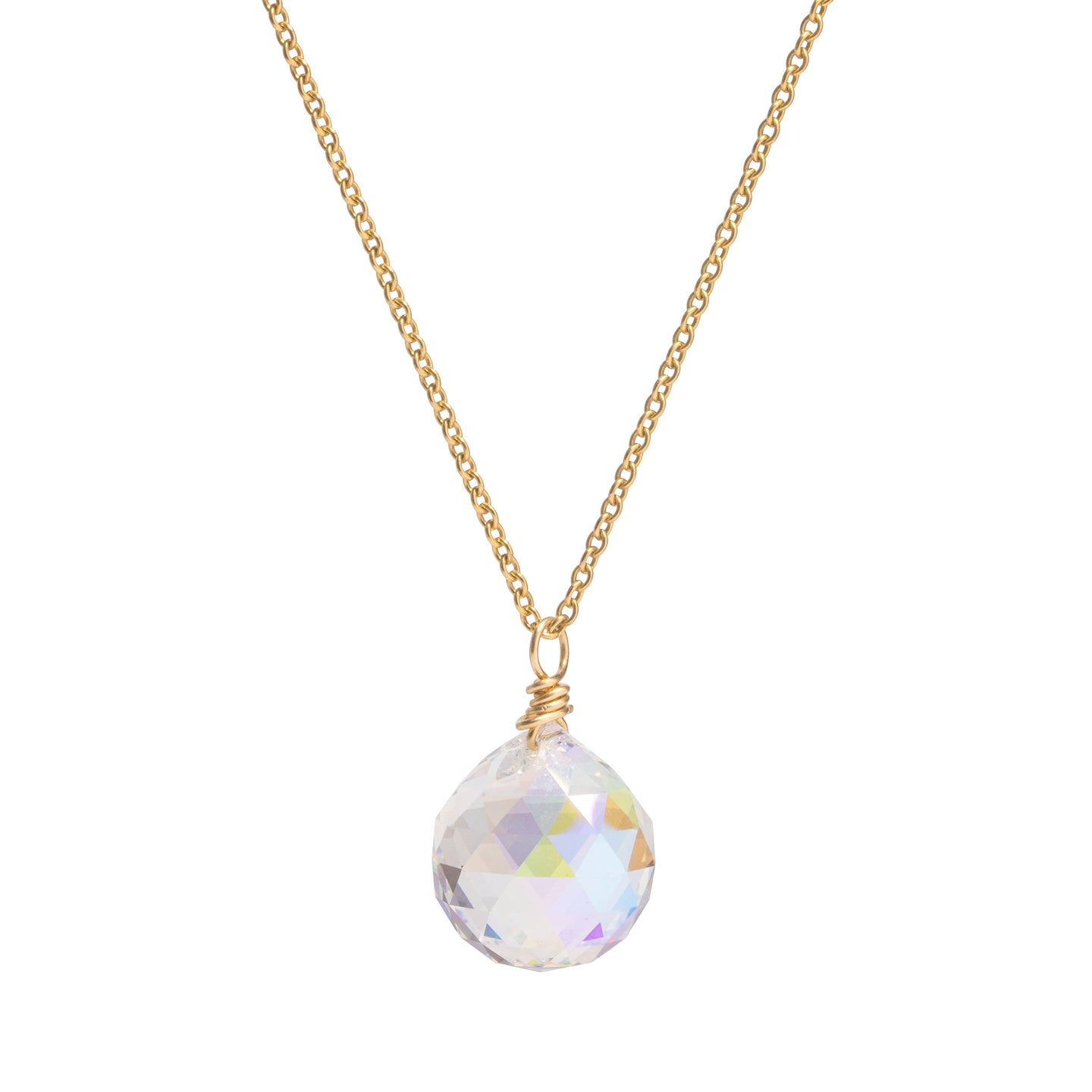 Swarovski Crystal Disco Ball Long Gold Necklace