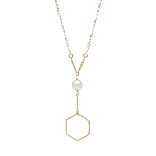Hexagon with Freshwater Pearl Gold Lariat Necklace
